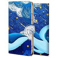 Galaxy Feel ケース 手帳型 ギャラクシー Feel SC-04J カバー スマホケース おしゃれ かわいい 耐衝撃 花柄 人気 純正 全機種対応 線画-クジラと星 かわいい アニマル アニメ 3753866