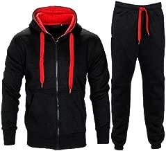 Janisramone New Kids Boys Contrast Drawcord Fleece Hooded Top Bottom Set Jogging Tracksuit