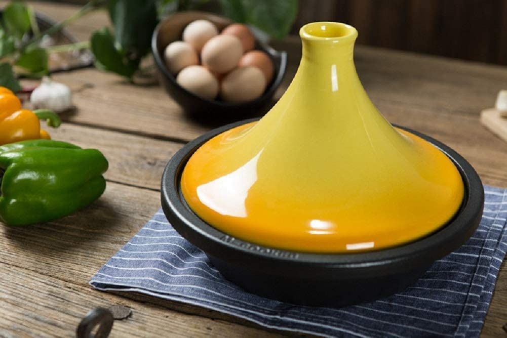 WEIZI Pot avec Base en Fonte et Couvercle d'entonnoir en grès Casserole en céramique de 27 cm en Fonte émaillée pour Tous Les Types de plaques de Cuisson (Couleur: Jaune) Yellow
