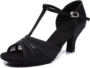 CLEECLI Women's Ballroom Dance Shoes Latin Salsa Dance Shoes T-Strap Sandals 2.5