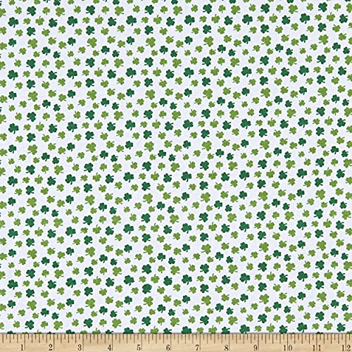 Fabric Merchants Cotton Stretch Jersey Knit Shamrock White/Green, Fabric by the Yard
