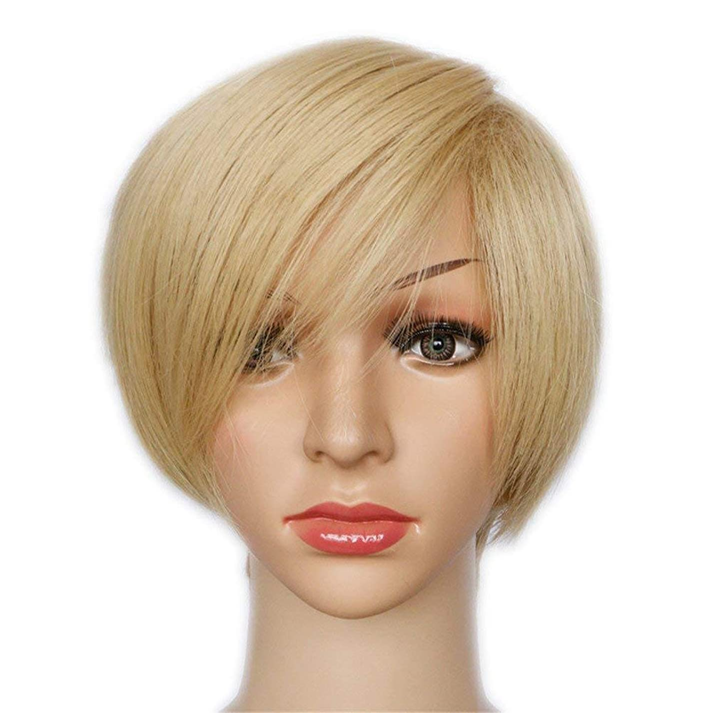 リング店員宇宙のYrattary ブロンドの自然なショートボブストレートヘアの女性のファッションかつら無料キャップ付き女性前髪かつらレースのかつらロールプレイングかつら (色 : Blonde)