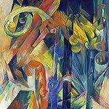 Artland Alte Meister Kunst Wandtattoo Expressionismus Franz Marc Wandbilder Klebefolie Wald mit Eichhörnchen 30 x 30 cm Kunstdruck Deko Art R0LD