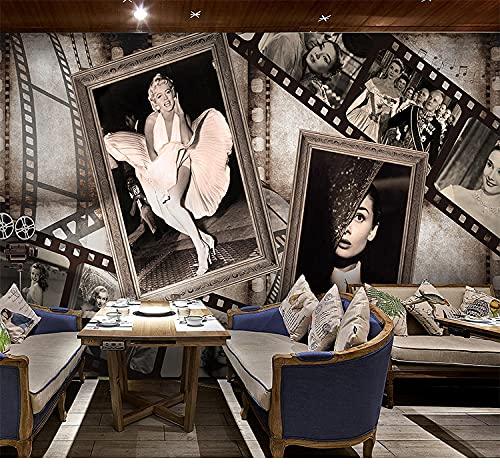 Decorazione Muro Cameretta Fotomurali Poster Carta Da Parati 3D Personalizzata Vintage Star Del...