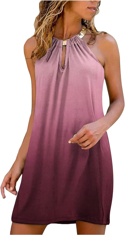 HLENLO Womens Dress for Summer Halter Neck Sleeveless Dress Mini Beach Sundresses Short Dress Spaghetti Strap Casual Dresses