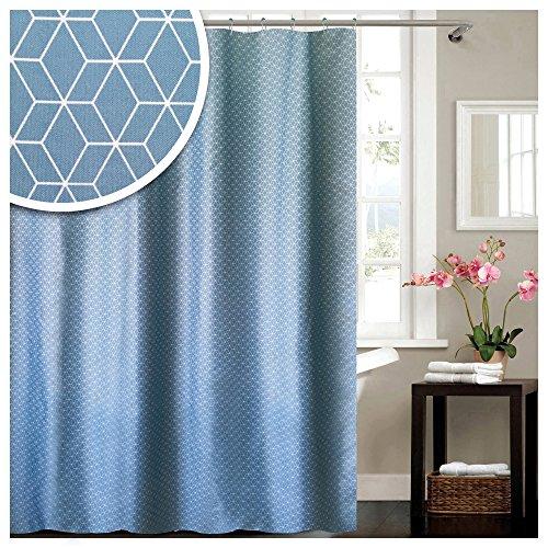 Lashuma Textil Duschvorhang mit Ringen Geometric, Weiß - Blauer Wannenvorhang, Modernes Badezimmer Accessoire, Badevorhang 180 x 180 cm