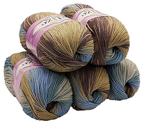 Alize Cotton gold 5 x 100g Strickwolle 55% Baumwolle, 500 Gramm Wolle mit Farbverlauf Mehrfarbig (braun beige Mint grau 4148)