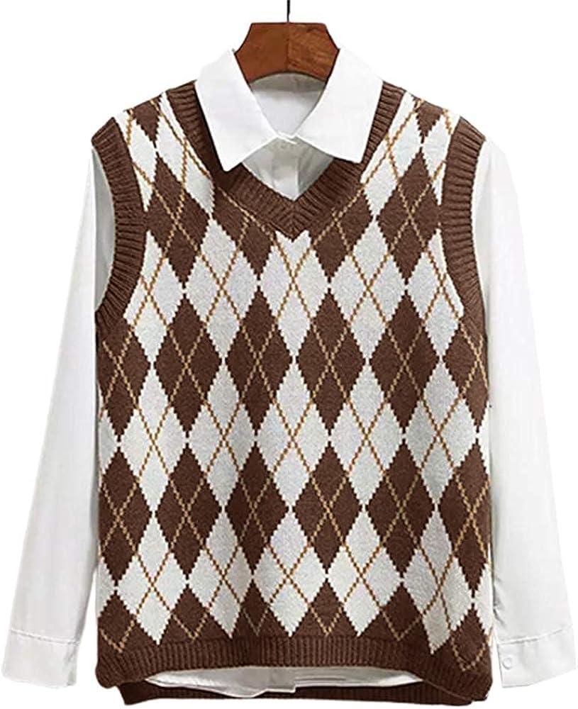 Lailezou Women's Genuine Free Popular brand in the world Shipping V Neck Knit Sweater Argyle St Plaid Vest Preppy