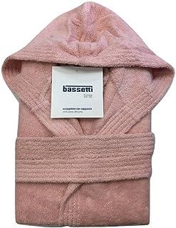 Bassetti - accappatoio da donna bassetti con cappuccio spugna di cotone time rosa - m