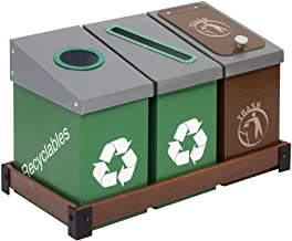 DeskMate 3 Bin Recycling and Waste Station - Green
