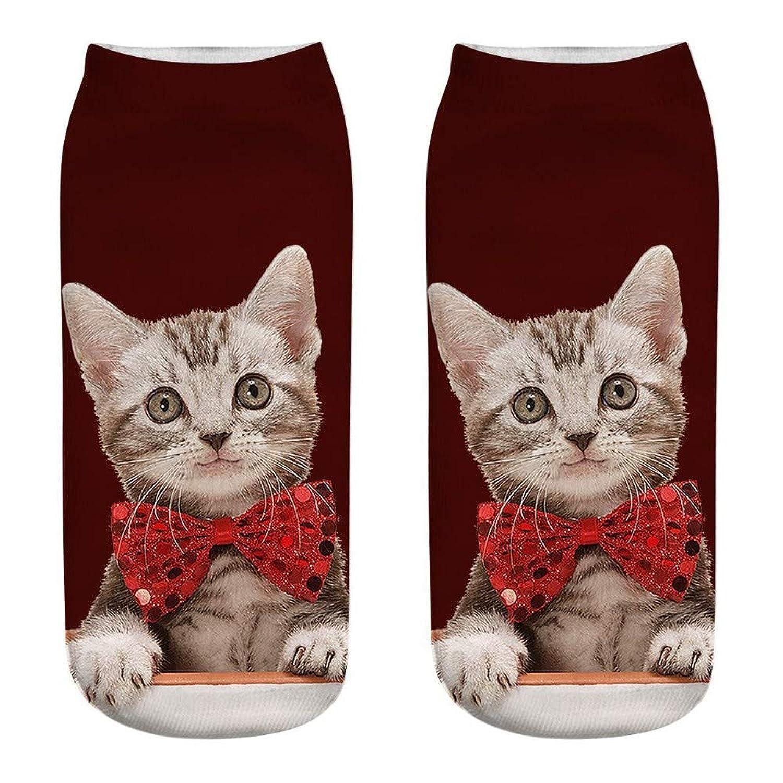 Tavadoo 靴下 ソックス レディース くつ下 綿混 フットウエア カラーソックス クリスマス  動物ネコ 猫 プリント  シンプル ショート コットン プレゼント 男の子 女の子
