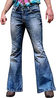 Men's Casual Long Bell Jeans Pants Classic Mid Rise 70s Disco Denim Bell Bottom