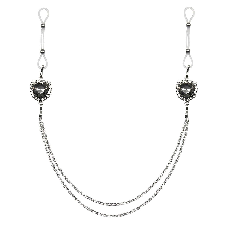 Heart Nipple Jewelry Rings Non Piercing Body Chains Adjustable Rhinestone Nipple Noose-gray
