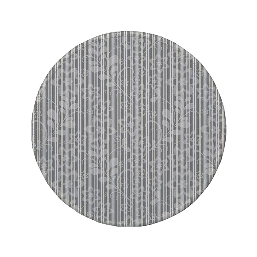 Non-Slip Rubber Round Mouse Pad,Grey and White,Floral Elegance Petals Branches Leaves Faded Toned Abstract Blooms Artsy Pattern,Grey,11.8