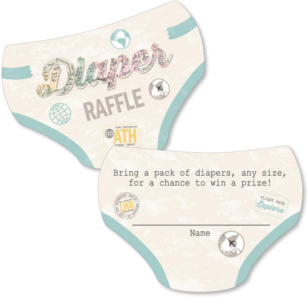 Big Dot of Happiness World Awaits - Diaper Shaped Raffle Ticket Inserts - Travel Themed Baby Shower Activities - Diaper Raffle Game - Set of 24