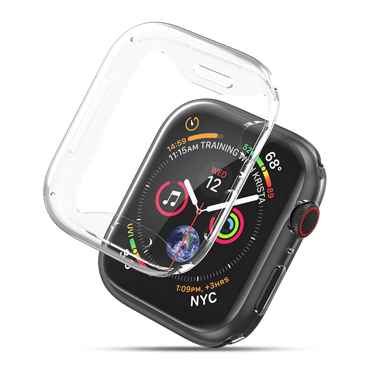 UGREEN Case Compatible with Apple Watch Series 4 Full Cover Screen Protector 2 Pack Clear Protective Soft TPU Ultra Thin 44mm iWatch 4 Case Crystal Anti Scratch All Around Protection