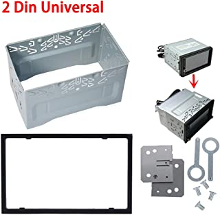 Everrich Universal Double DIN Installation Slot Metal Car Stereo Radio Mounting Frame 2DIN Universal Car Radio Adapter In-Dash Mounting Frame Complete Fitting Kit