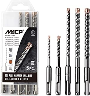 SDS Plus Hammer Drill Bit Set - 5pcs 4-Cutter Carbide Rebar Drill Bits for Concrete, Masonry, Brick, Granite with Rotary 4-flute and Cross Head Solid Tip (4-Cutter)