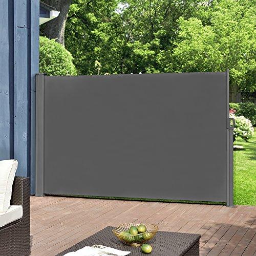 pro.tec Seitenmarkise 160 x 300 cm Grau Witterungsbeständig Sichtschutz Markise Sonnen- & Windschutz