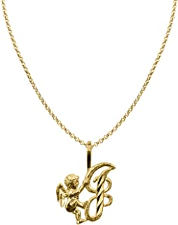 14k Yellow Gold Cherub and Cursive Initial Letter 'A' Pendant with 1.2mm Rolo chain