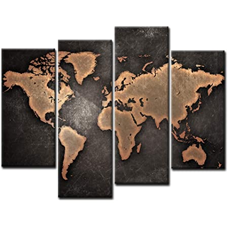 General World Map Black Background Wall Art Painting Pictures Print On Canvas Art The Picture For Home Modern Decoration Posters Prints