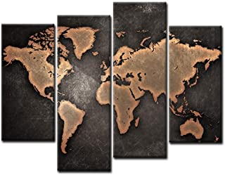 Best General World Map Black Background Wall Art Painting Pictures Print On Canvas Art The Picture for Home Modern Decoration Review