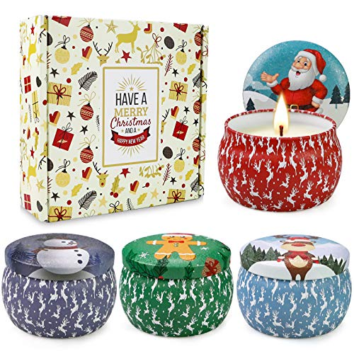 Christmas Scented Candles Gifts Set for Women,Aromatherapy Candles for Home Scented,4.4Oz Soy Wax Jar Candle for Brithday Gifts,Stress Relief 4 Pack