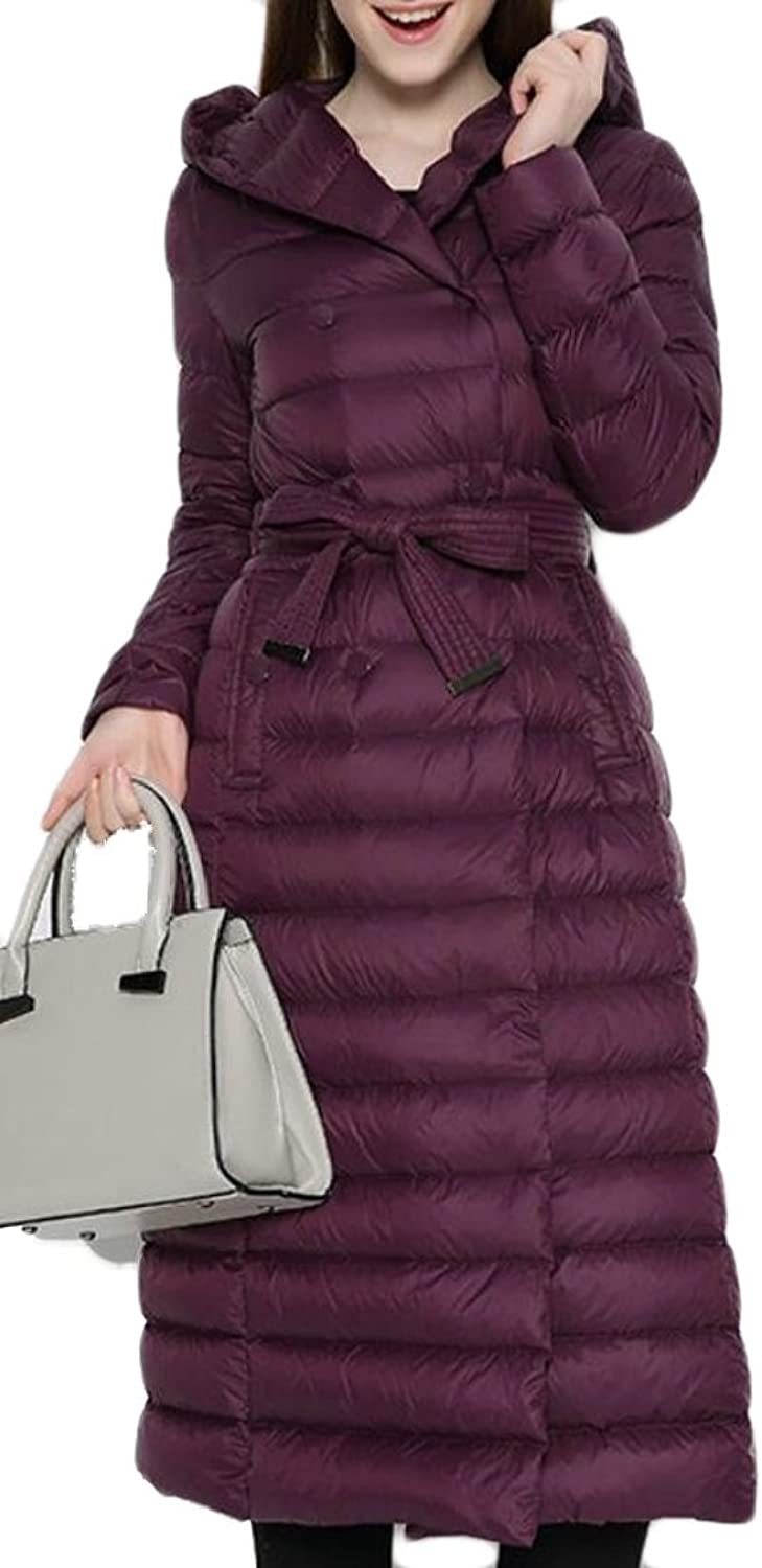XQS Womens Fashion New Long Sleeve DoubleBreasted Down Jacket with Belt