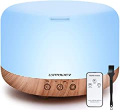 URPOWER 1000ml Essential Oil Diffuser Humidifiers Remote Control Ultrasonic Aromatherapy Diffusers Room Decor Running 20 H...