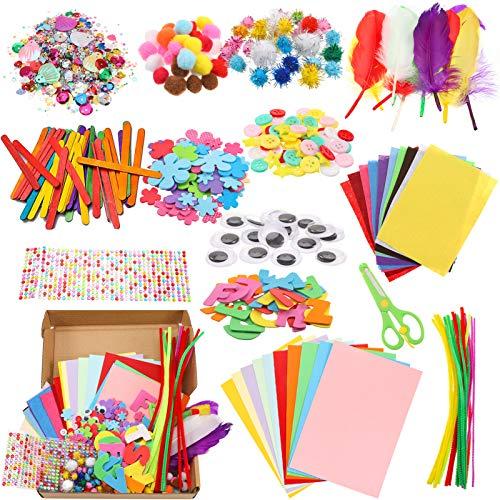 Aoliandatong Manualidades creativas para niños, juego Bricolage, Craft Kit que incluye ojos Wiggle, bola de purpurina, pompones y cepillos de pipa de chenilla, juguetes de bricolaje, manualidades