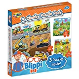 Blippi Montessori Chunky Puzzles for Kids & Toddlers - 3-in-1 Chunky Puzzle Set Ages 2+ Wooden Animal Puzzle for 2 Year Old - Baby Puzzle with Dinosaurs and Construction Pieces - Wood Puzzle Gift Set