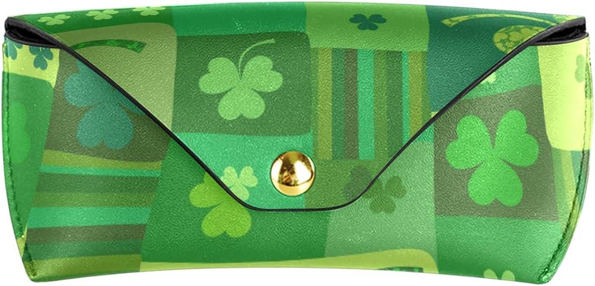 Green Leaf Patrocks Day Cute Multiuse Portable Goggles Bag PU Leather Sunglasses Case Eyeglasses Pouch