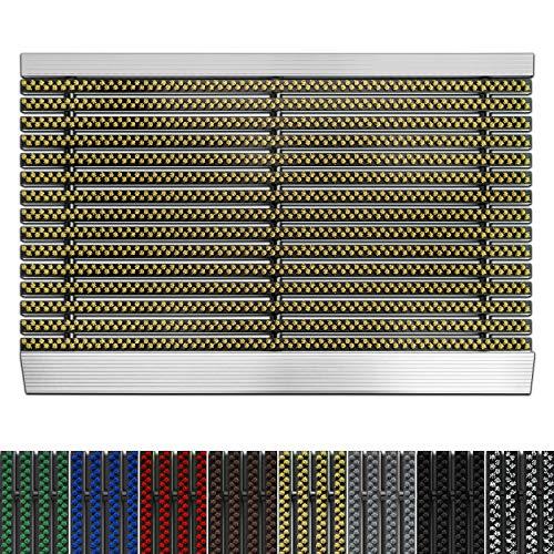 etm Fußmatte mit Aluminium Rahmen für außen | Elegante Alumatte mit robusten Bürsten wetterfest | 3 Größen (40 x 60 cm Beige)