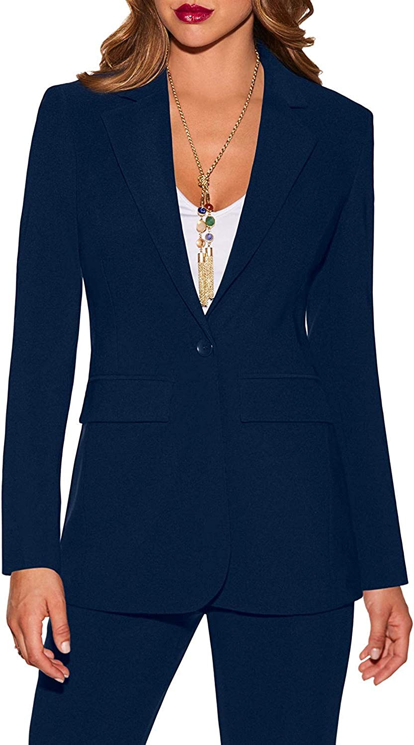 WZW Women's WrinkleResistant Classic One Button Solid color Blazer Pant Suit Set