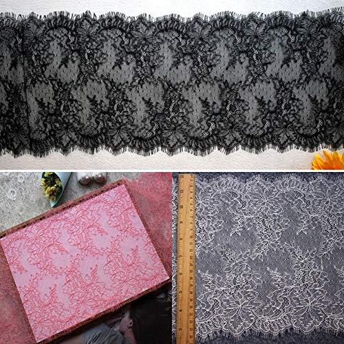3 meter zachte nylon Franse wimper kanten rand DIY naaien Craft Sexy ondergoed Kantstoffen Zwart/Gebroken Wit/Roze, Zwart
