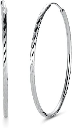 T400 Jewelers 925 Sterling Silver Diamond-Cut Hoop Earrings, All Sizes Small and Large,25mm-65mm