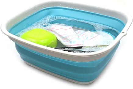 SAMMART 7.7L (2 Gallon) Collapsible Tub - Foldable Dish Tub - Portable Washing Basin - Space Saving Plastic Washtub (Bright Blue, S)