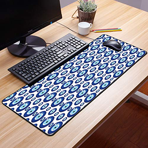 Gaming Mauspad - 600 x 350 mm,Evil Eye, Symmetrisches Muster Allsehende Augenfiguren Aberglaube türkischer Abstammung, Gra,Vernähte Kanten - rutschfest - Mousepad mit Einer Gummiunterseite Oberfläche