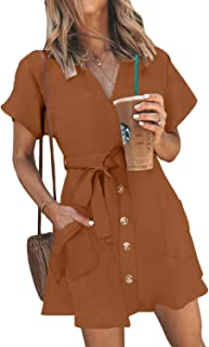 Womens Fashion Stripe Short Sleeve Wrap V-Neck Casual Summer Button Front Mini Short Shirt Dress with Belt