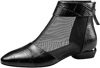 Goddessvan Women's Fashion Tulle Elegant Square Heel Pointed Toe Casual Shoes Short Boots Mesh Flat Sandals