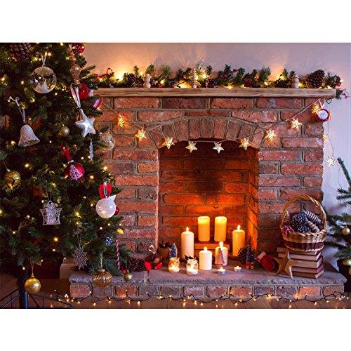 MASUNN 7X5Ft Vinyl Retro Kerstboom open haard fotografie achtergrond achtergrond Props Studio