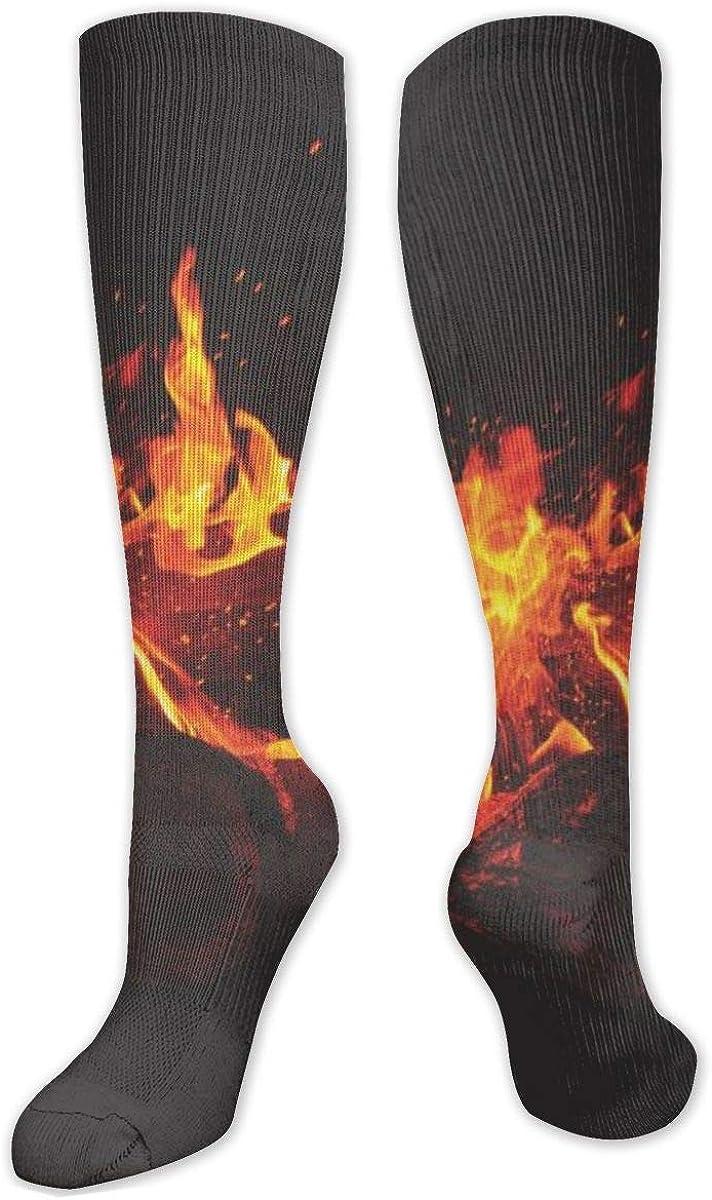 Lit Woods Bonfire Fire Flames Knee High Socks Leg Warmer Dresses Long Boot Stockings For Womens Cosplay Daily Wear