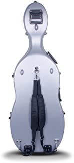 Crossrock CRA862CEFSL 4/4 and 3/4 Size ABS Molded Cello Case with Wheels in Silver