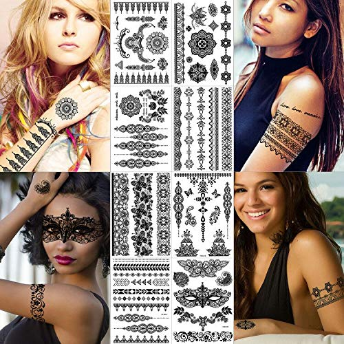 Greae Black Henna Tattoo Stickers For Women, Girls, Dancer | Skin Safe | DIY Costume Party Makeup Fake Tattoos | Sexy Armband Lace Temporary Tattoos | Indian Mandala Mehndi | 8 Sheets
