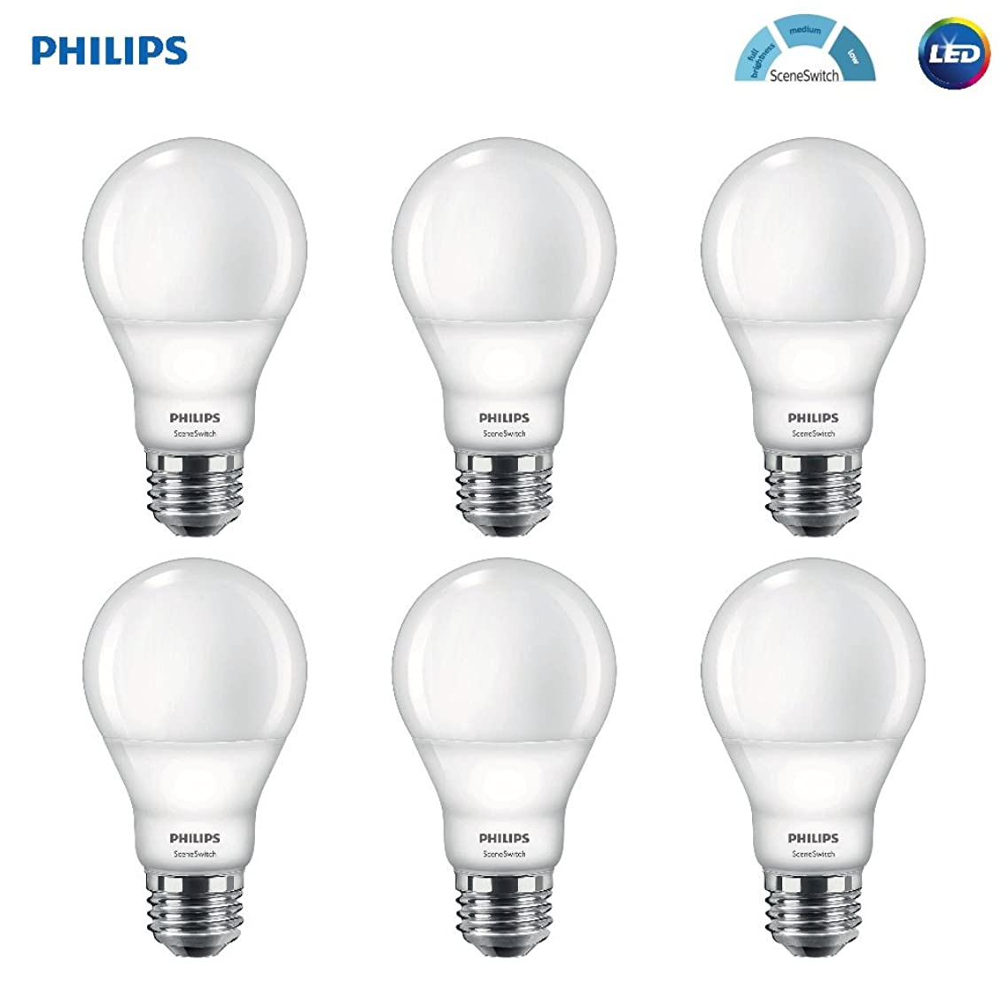 Philips LED A19 SceneSwitch Daylight 3-Setting Light Bulb: Bright/Medium/Low (60-Watt Equivalent) E26 Base, 6-Pack