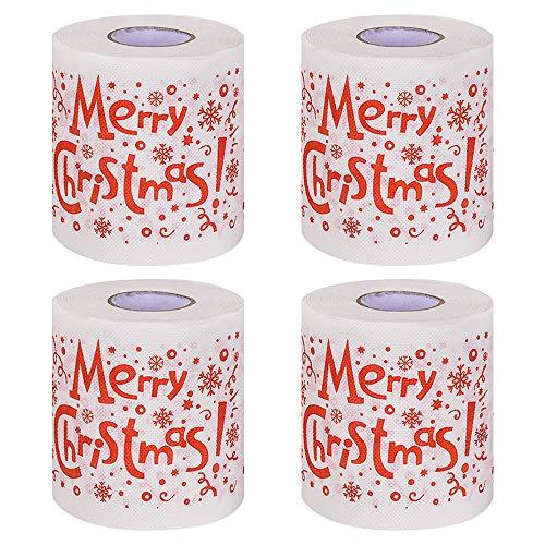 Papel de Navidad Impreso con patrón navideño,4 piezas Papel higiénico navideño Rollos de papel higiénico navideño Papel higiénico para baño en casa Papel higiénico para Navidad Decoración