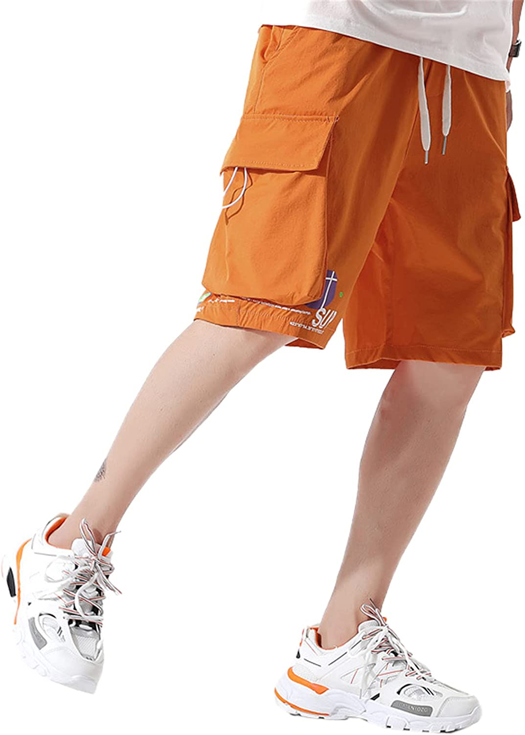 Betusline Teen Boys & Men's Relaxed Fit Drawstring Cargo Shorts, 10 Years - US L
