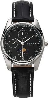 New Berny Moon Phase Diamond Dial Sapphire Case Quartz Watch Casual Fashion Waterproof Wrist Watch for Men Women