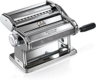 Marcato 8341 Atlas 180 Made in Italy Machine, Includes Pasta Cutter, Hand Crank, and Instructions, 180mm, stainless