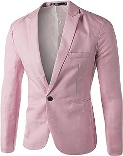 Bestgift Men's Solid Color Slim One Button Blazer
